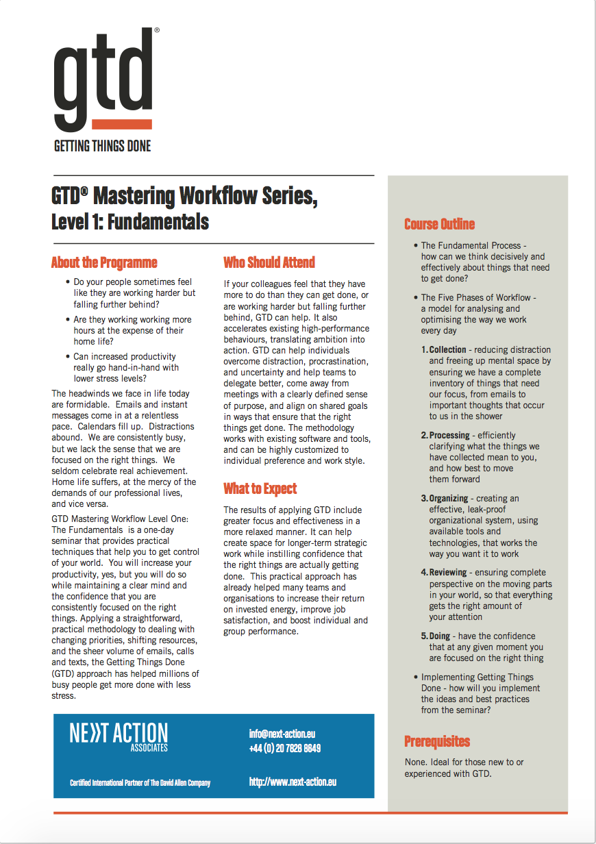 GTD Mastering Workflow Level 1: Fundamentals