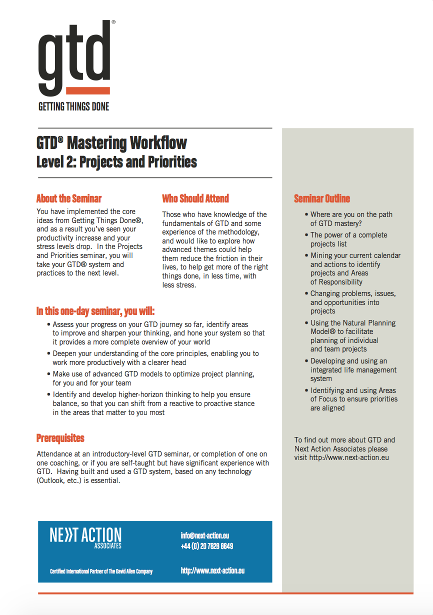 GTD Mastering Workflow Level 2: Projects & Priorities