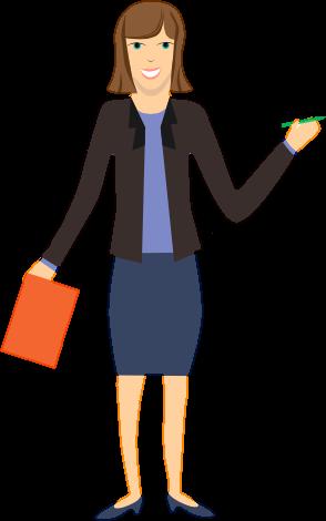 Cartoon image of a presenter