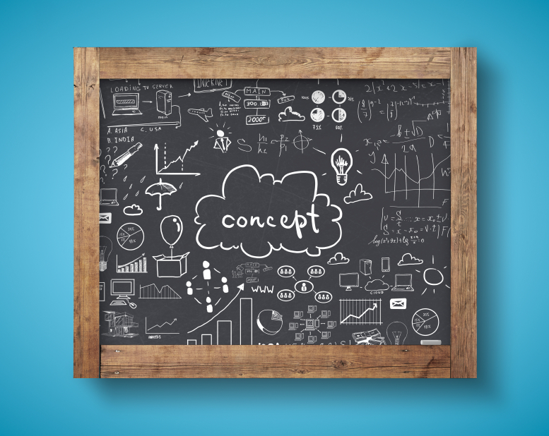 blackboard with business concept