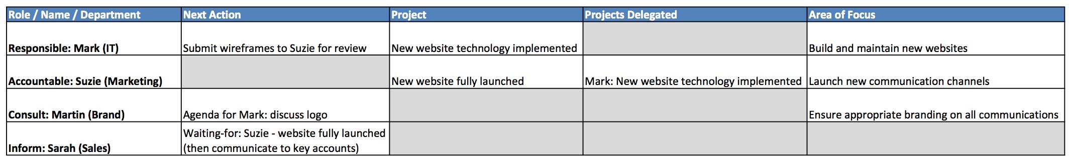 Sample RACI Roles Table